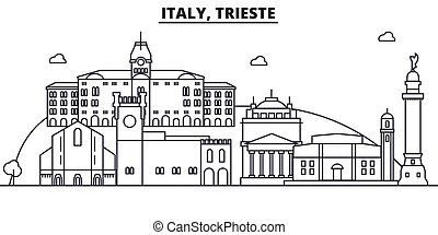 Italy, Trieste architecture line skyline illustration. Linear vector cityscape with famous landmarks, city sights, design icons. Editable strokes