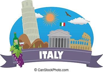 italy., turismo, y, viaje