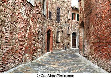 Italy. Tuscany region. Montepulciano town. Medieval street