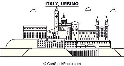 Italy, Urbino line skyline vector illustration. Italy,...