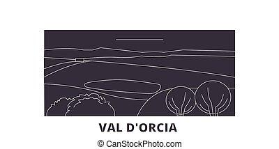 Italy, Val D'orcia flat travel skyline set. Italy, Val...