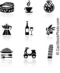 Italy vector icons - black