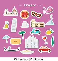 Italy vector illustration with Italian landmarks, food as stickers