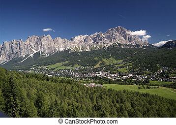Italy, Veneto, - Italy, Cortina d Ampezzo with Cristallo...