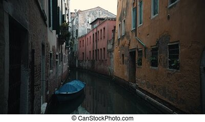 Italy, Venice. Gateway full of water. Peaceful place Static shot