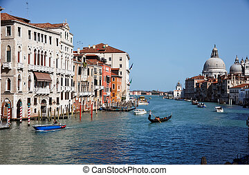 italy, venice, grand canal - the famous grand canal in...