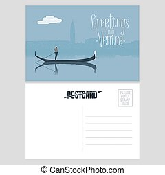 Italy, Venice vector postcard design with gondola