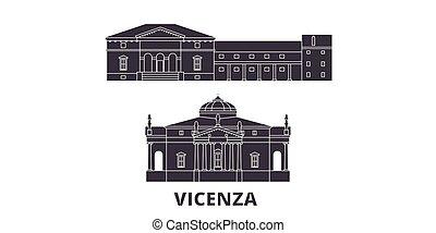 Italy, Vicenza flat travel skyline set. Italy, Vicenza black city vector panorama, illustration, travel sights, landmarks, streets.