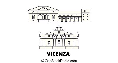 Italy, Vicenza line travel skyline set. Italy, Vicenza outline city vector panorama, illustration, travel sights, landmarks, streets.