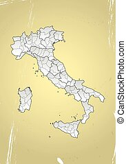 Italy vintage - illustration of italy province and region...