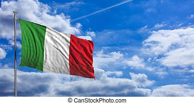 Italy waving flag on blue sky. 3d illustration
