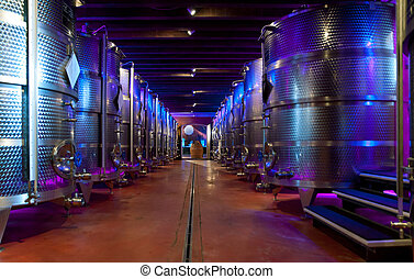 Wine production in a modern Italian farm (franciacorta).