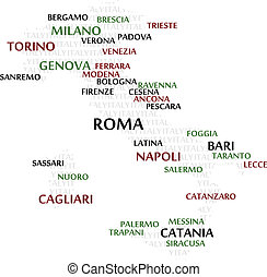 Italy Word Cloud map