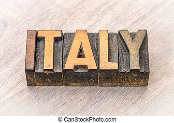 Italy word in vintage wood type