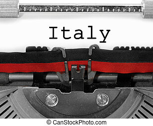 Italy writen with an old vintage typewriter on white paper
