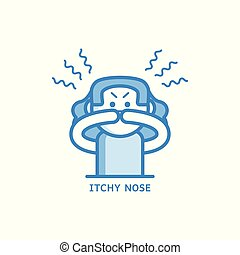 Itchy and runny nose line icon - symptom of disease or...