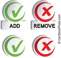 item, adicionar, vetorial, remover, circular