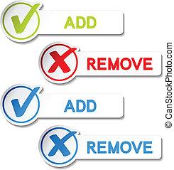item, adicionar, vetorial, remover