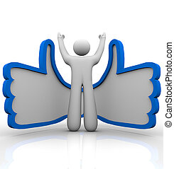 item, -, cima, aprovar, pessoa, polegares, online,...