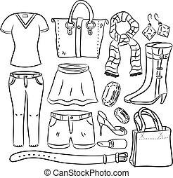 item, menina, material, shopping