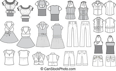item, moda, esboço