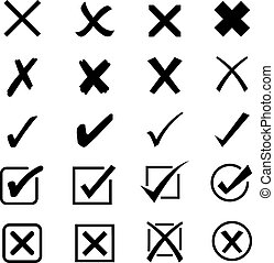 item, símbolo, crucifixos, remover, marca, gancho, adicionar, vetorial, cheque, circular