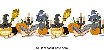 items., calabazas, halloween, magia, border., seamless, ...