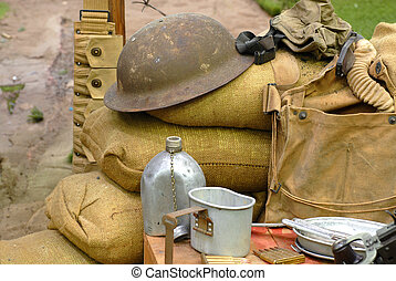 Items displayed from a World War 2 soldier - Several items ...