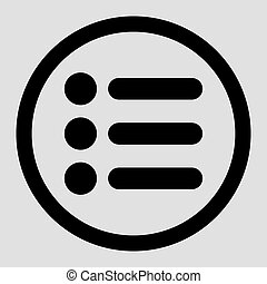 Items flat black color rounded vector icon