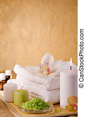 Items for cleaning feet on a golden background