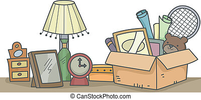 Items for Donation - Illustration of Old Items That are...