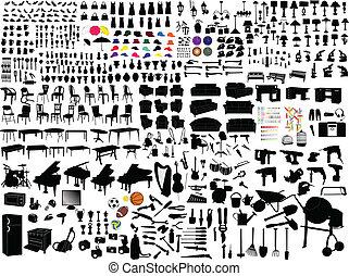items, huisgezin, verzameling