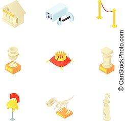 Items in museum icons set, cartoon style