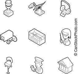 Items in museum icons set, outline style