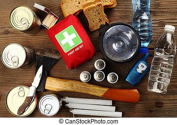 items, op, noodgeval, afsluiten