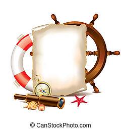 items, papier, marinier, leeg