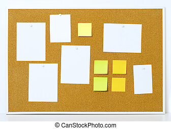 Items pinned to a cork message board with wood frame, for customized text or images. Yellow stick notes.