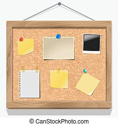 Items pinned to a cork message board