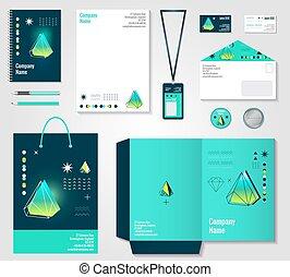 items, polygonal, ontwerp, kristallen, bedrijfsidentiteit