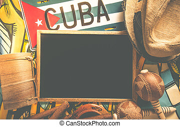 Items related to Cuba travel with copy space