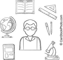 items, school, opleiding, ontwerp, sketched