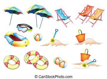 items, strand, summertime, illustratie