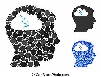 itens, ícone, brainstorming, spheric, mosaico