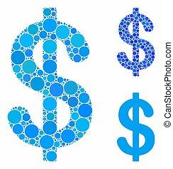 itens, ícone, dólar, spheric, mosaico