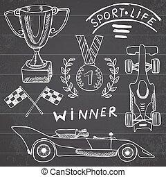 itens, automático, desporto, elements., doodles
