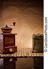 itens, café, copyspace, vista