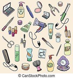 itens, desenhado, cosmético, beleza, mão