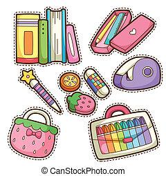 itens, escola, jogo, set., diferente