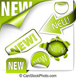 itens, jogo, verde, elementos, novo