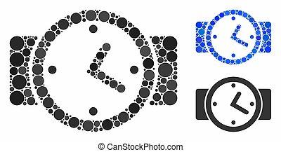 itens, relógios, spheric, ícone, mosaico